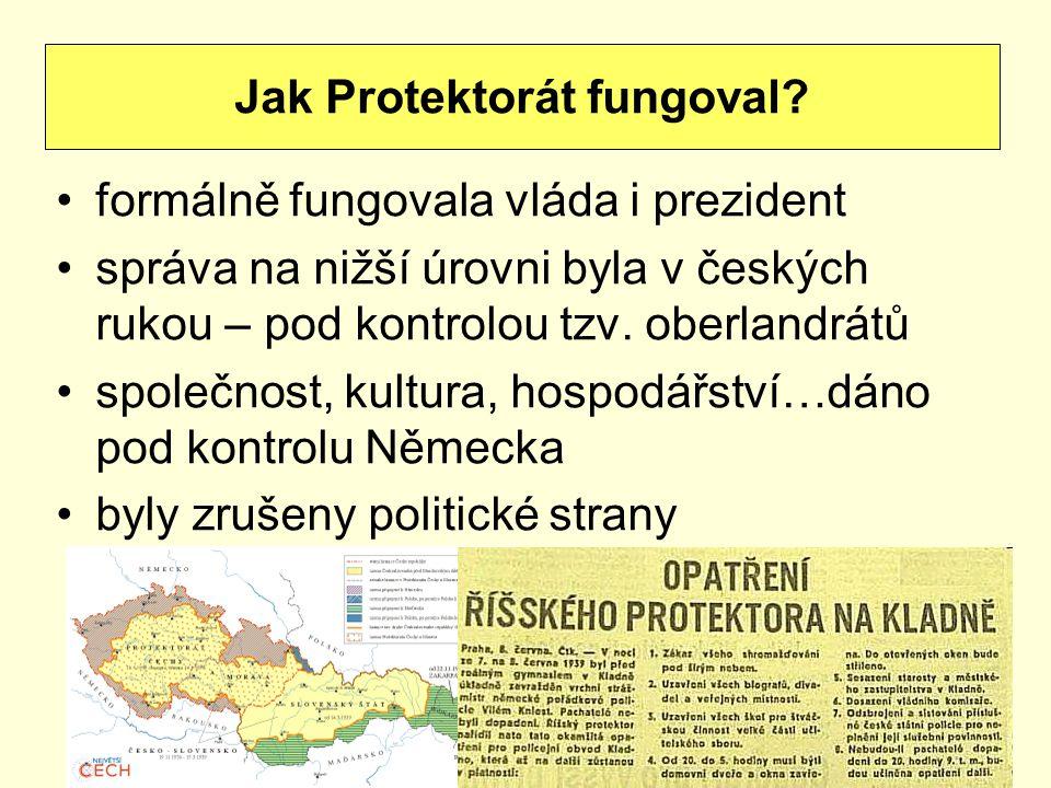 formálně fungovala vláda i prezident správa na nižší úrovni byla v českých rukou – pod kontrolou tzv. oberlandrátů společnost, kultura, hospodářství…d