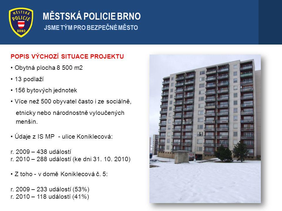 MĚSTSKÁ POLICIE BRNO JSME TÝM PRO BEZPEČNÉ MĚSTO POPIS VÝCHOZÍ SITUACE PROJEKTU Obytná plocha 8 500 m2 13 podlaží 156 bytových jednotek Více než 500 o