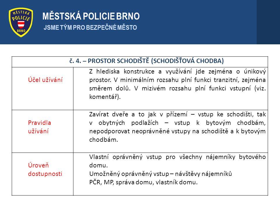 . MĚSTSKÁ POLICIE BRNO JSME TÝM PRO BEZPEČNÉ MĚSTO č. 4. – PROSTOR SCHODIŠTĚ (SCHODIŠŤOVÁ CHODBA) Účel užívání Z hlediska konstrukce a využívání jde z