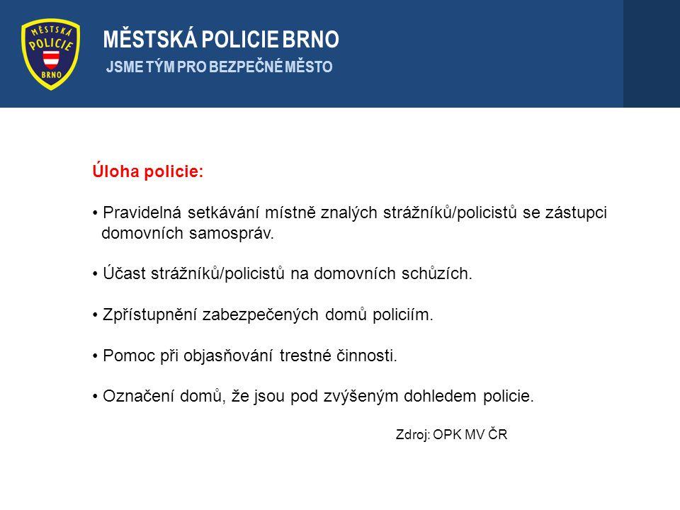 Úloha policie: Pravidelná setkávání místně znalých strážníků/policistů se zástupci domovních samospráv. Účast strážníků/policistů na domovních schůzíc