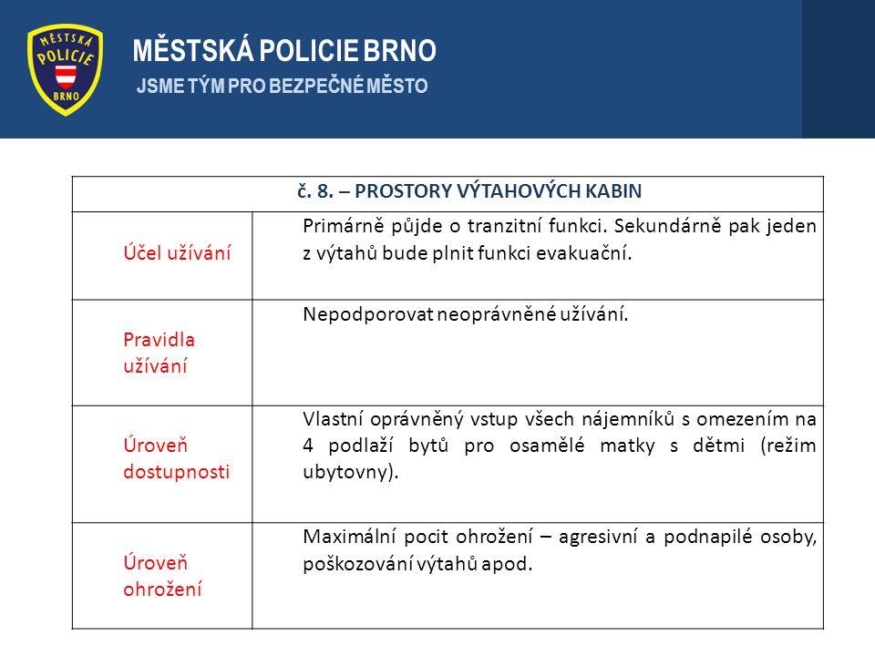 . MĚSTSKÁ POLICIE BRNO JSME TÝM PRO BEZPEČNÉ MĚSTO č. 8. – PROSTORY VÝTAHOVÝCH KABIN Účel užívání Primárně půjde o tranzitní funkci. Sekundárně pak je