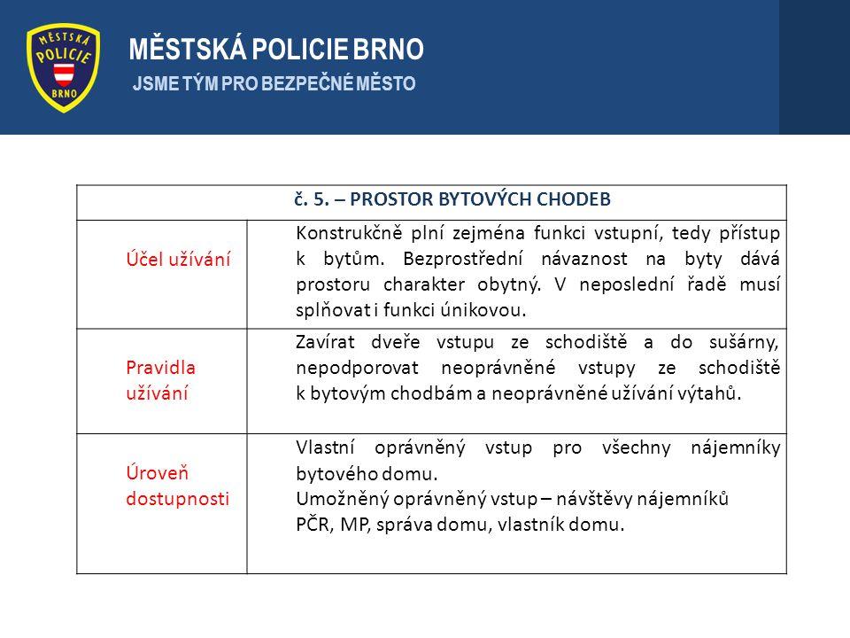 . MĚSTSKÁ POLICIE BRNO JSME TÝM PRO BEZPEČNÉ MĚSTO č. 5. – PROSTOR BYTOVÝCH CHODEB Účel užívání Konstrukčně plní zejména funkci vstupní, tedy přístup