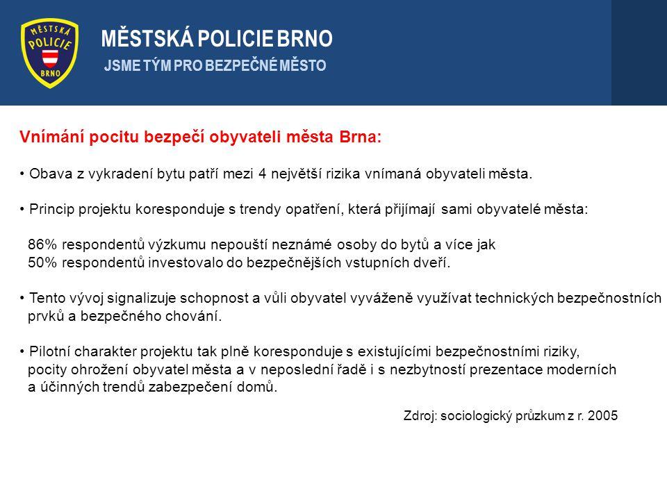 Vnímání pocitu bezpečí obyvateli města Brna: Obava z vykradení bytu patří mezi 4 největší rizika vnímaná obyvateli města. Princip projektu koresponduj