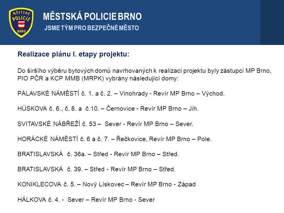 Realizace plánu I. etapy projektu: Do širšího výběru bytových domů navrhovaných k realizaci projektu byly zástupci MP Brno, PIO PČR a KCP MMB (MRPK) v