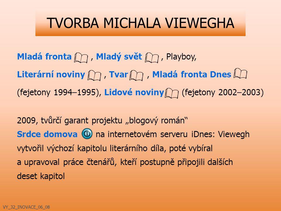 TVORBA MICHALA VIEWEGHA Mladá fronta, Mladý svět, Playboy, Literární noviny, Tvar, Mladá fronta Dnes (fejetony 1994–1995), Lidové noviny (fejetony 200