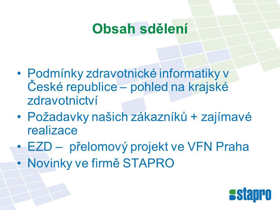 Zdravotnická informatika v ČR (2009) Zdravotnická reforma je u ledu Nové vedení v krajích – snahy o změnu Důsledky finanční krize se teprve očekávají Čerpání z ESF běží a některé projekty ve zdravotnictví jsou jimi financovány Změna vlastníků zdravotnických zařízení, ZP ------------ i n f o r m a t i k a ------------------ Konsolidace zdrav.