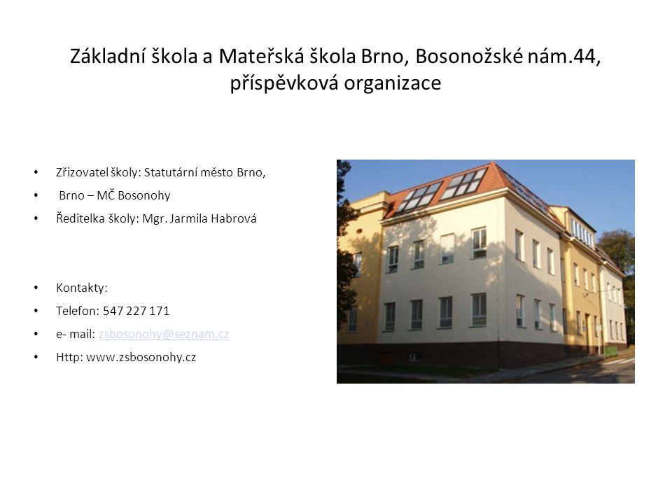 Základní škola a Mateřská škola Brno, Bosonožské nám.44, příspěvková organizace Zřizovatel školy: Statutární město Brno, Brno – MČ Bosonohy Ředitelka školy: Mgr.
