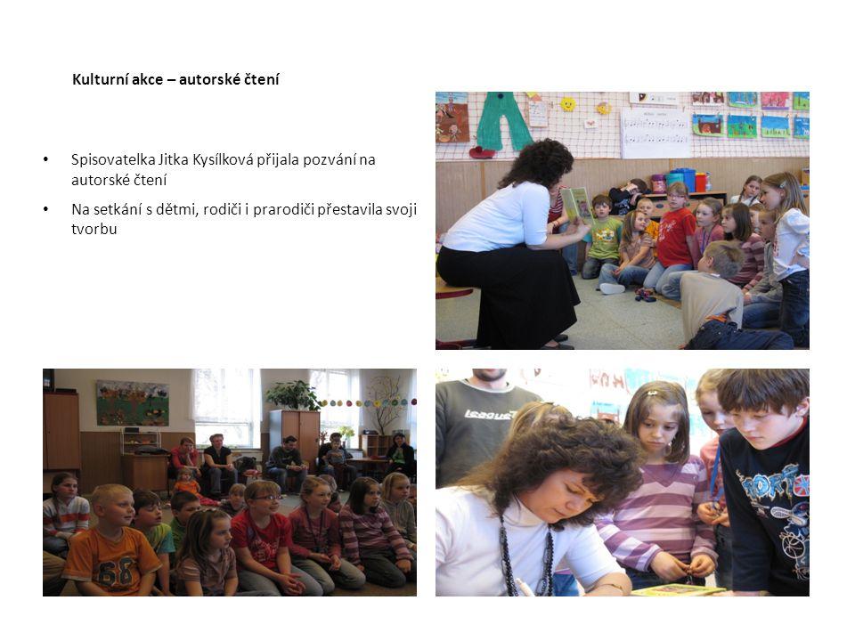 Kulturní akce – autorské čtení Spisovatelka Jitka Kysílková přijala pozvání na autorské čtení Na setkání s dětmi, rodiči i prarodiči přestavila svoji tvorbu