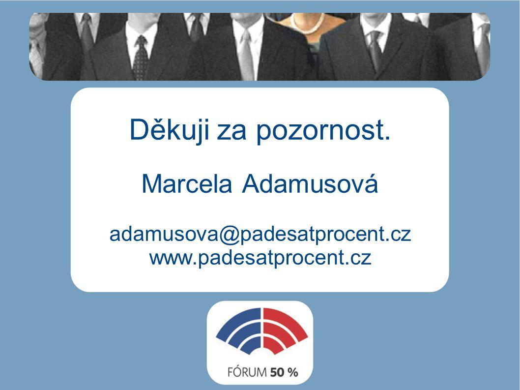 Děkuji za pozornost. Marcela Adamusová adamusova@padesatprocent.cz www.padesatprocent.cz
