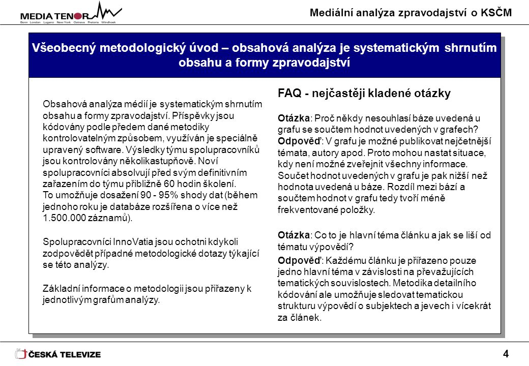 Mediální analýza zpravodajství o KSČM 4 Všeobecný metodologický úvod – obsahová analýza je systematickým shrnutím obsahu a formy zpravodajství Obsahová analýza médií je systematickým shrnutím obsahu a formy zpravodajství.