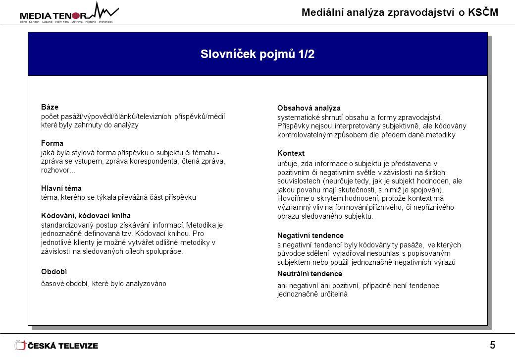 Mediální analýza zpravodajství o KSČM 5 Slovníček pojmů 1/2 Báze počet pasáží/výpovědí/článků/televizních příspěvků/médií které byly zahrnuty do analý