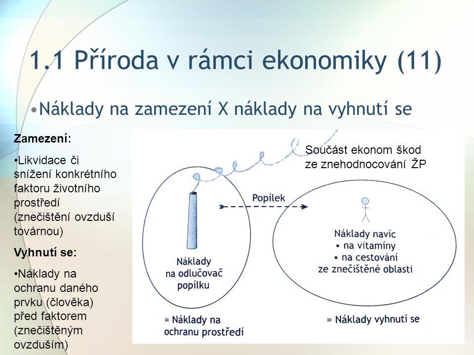 1.1 Příroda v rámci ekonomiky (11) Náklady na zamezení X náklady na vyhnutí se Zamezení: Likvidace či snížení konkrétního faktoru životního prostředí (znečištění ovzduší továrnou) Vyhnutí se: Náklady na ochranu daného prvku (člověka) před faktorem (znečištěným ovzduším) Součást ekonom škod ze znehodnocování ŽP
