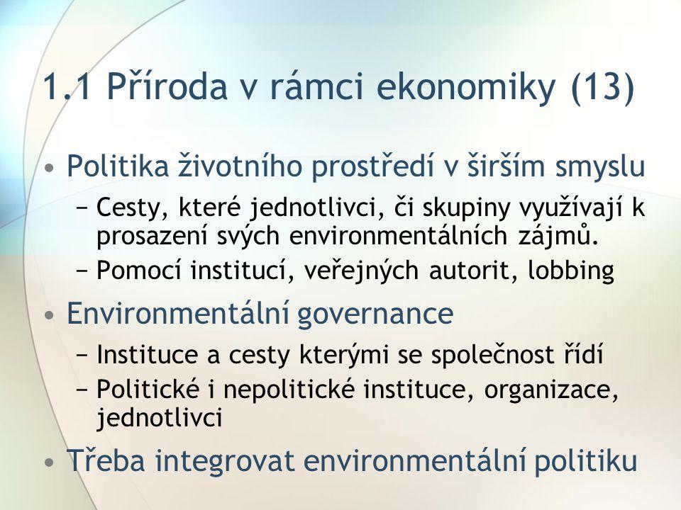 1.1 Příroda v rámci ekonomiky (13) Politika životního prostředí v širším smyslu −Cesty, které jednotlivci, či skupiny využívají k prosazení svých environmentálních zájmů.