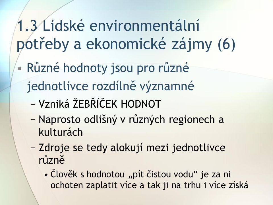 """1.3 Lidské environmentální potřeby a ekonomické zájmy (6) Různé hodnoty jsou pro různé jednotlivce rozdílně významné −Vzniká ŽEBŘÍČEK HODNOT −Naprosto odlišný v různých regionech a kulturách −Zdroje se tedy alokují mezi jednotlivce různě Člověk s hodnotou """"pít čistou vodu je za ni ochoten zaplatit více a tak ji na trhu i více získá"""