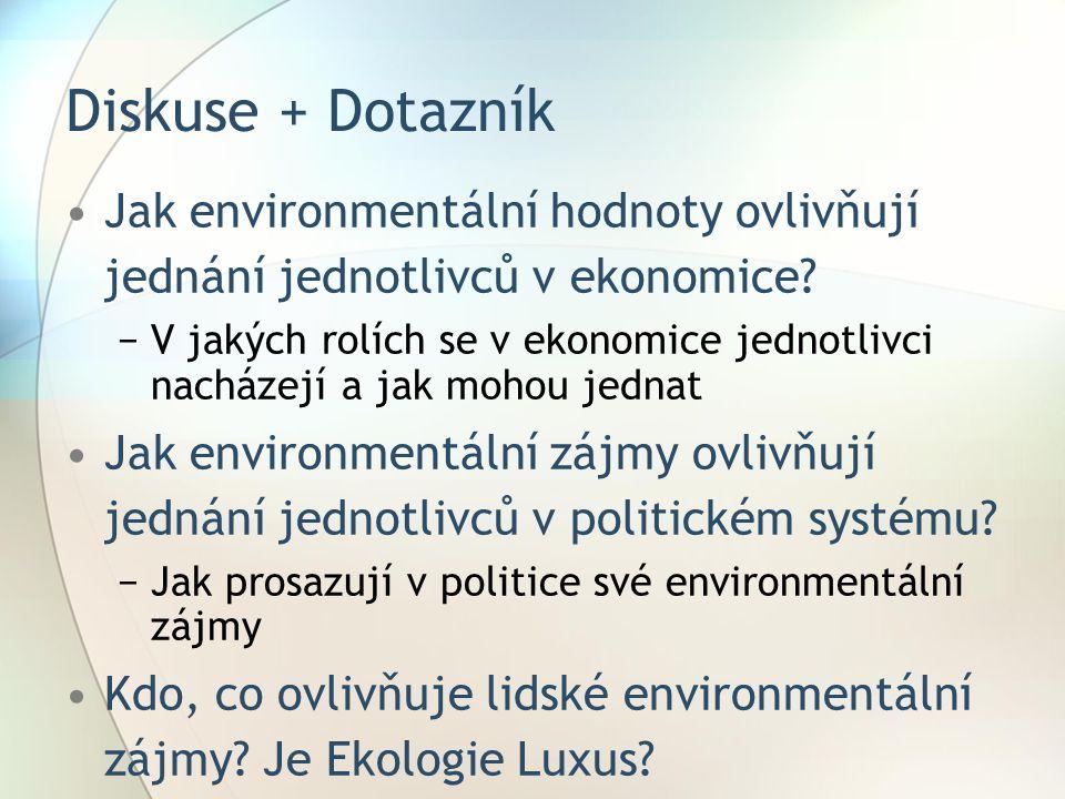 Diskuse + Dotazník Jak environmentální hodnoty ovlivňují jednání jednotlivců v ekonomice.