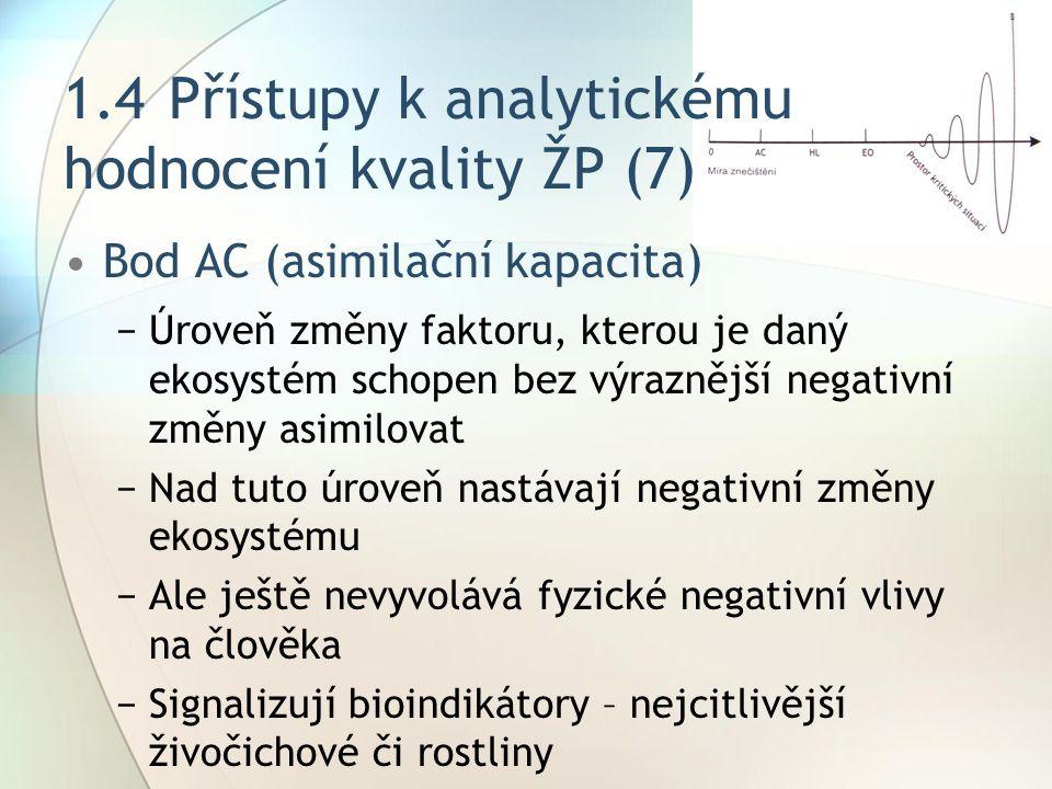 1.4Přístupy k analytickému hodnocení kvality ŽP (7) Bod AC (asimilační kapacita) −Úroveň změny faktoru, kterou je daný ekosystém schopen bez výraznější negativní změny asimilovat −Nad tuto úroveň nastávají negativní změny ekosystému −Ale ještě nevyvolává fyzické negativní vlivy na člověka −Signalizují bioindikátory – nejcitlivější živočichové či rostliny