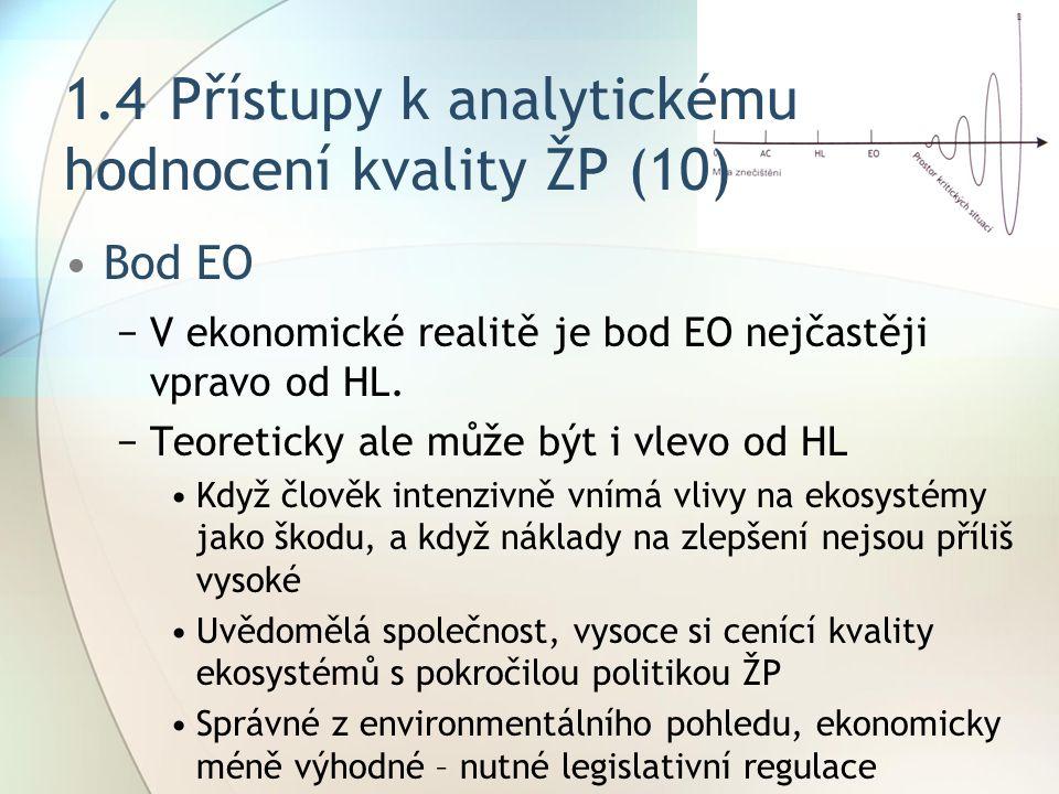 1.4Přístupy k analytickému hodnocení kvality ŽP (10) Bod EO −V ekonomické realitě je bod EO nejčastěji vpravo od HL.