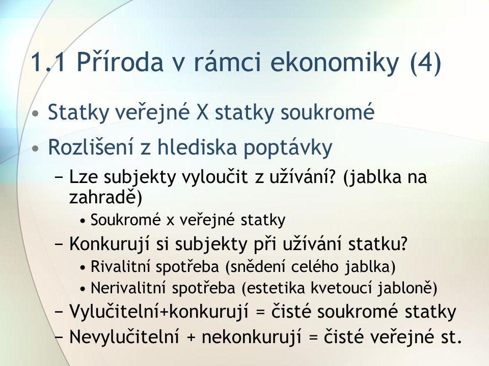 1.1 Příroda v rámci ekonomiky (4) Statky veřejné X statky soukromé Rozlišení z hlediska poptávky −Lze subjekty vyloučit z užívání.