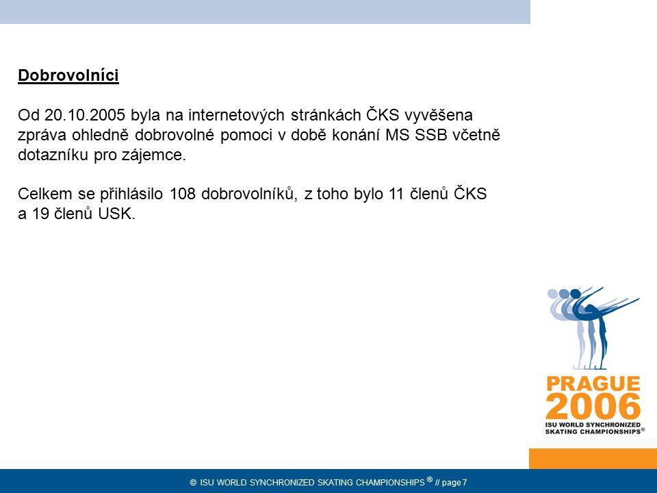 © ISU WORLD SYNCHRONIZED SKATING CHAMPIONSHIPS ® // page 18 Merchandising provizní prodej prostřednictvím americké společnosti Fine Design vlastní prodej Výroba pro prodej již v roce 2004 – 2005 během Prague Cupu 2005.