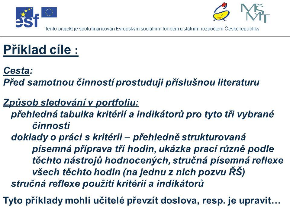 Jaké cíle si dali učitelé ZŠ, Mendelova na tento rok: Tento projekt je spolufinancován Evropským sociálním fondem a státním rozpočtem České republiky Cíle týkající se hodnocení 28,3% (kriteriální hodnocení, práce s portfolii, slovní hodnocení, systém sebehodnocení) Cíle týkající se moderních metod a forem práce 19,6% (zavádění dílny čtení a psaní, kooperativní učení, metody KM, projektový den, centra aktivity) Cíle týkající se utužování kolektivu třídy 19,6% (aktivity pro třídu i její rodiče, činnostní adaptační pobyt) Cíle týkající se zavádění PT do výuky (zejména OSV) 15,2% (nejvíce OSV, ale také VDO a VkMvGaES)