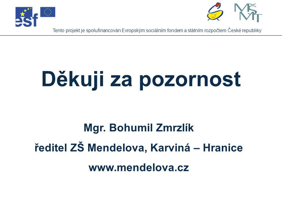 Tento projekt je spolufinancován Evropským sociálním fondem a státním rozpočtem České republiky Děkuji za pozornost Mgr. Bohumil Zmrzlík ředitel ZŠ Me