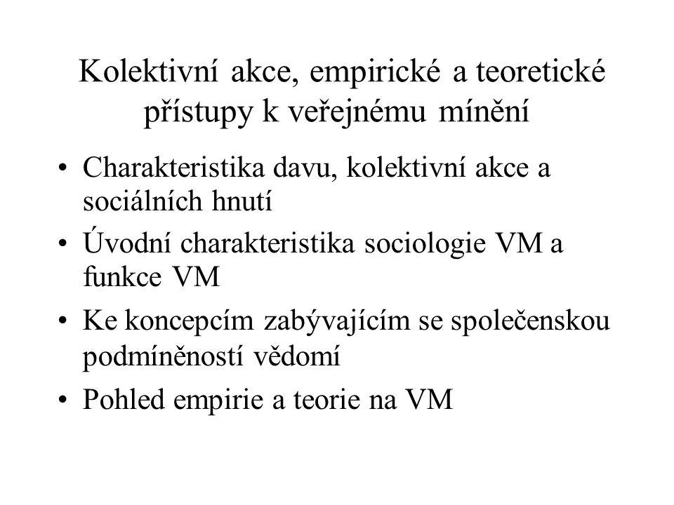Kolektivní akce, empirické a teoretické přístupy k veřejnému mínění Charakteristika davu, kolektivní akce a sociálních hnutí Úvodní charakteristika so