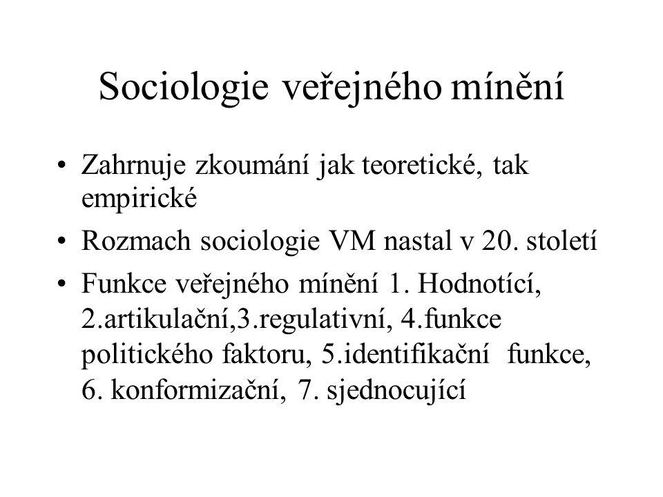 Sociologie veřejného mínění Zahrnuje zkoumání jak teoretické, tak empirické Rozmach sociologie VM nastal v 20. století Funkce veřejného mínění 1. Hodn