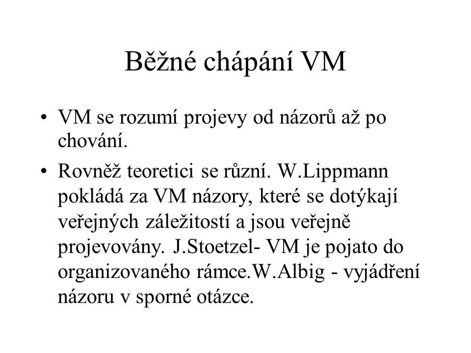 Běžné chápání VM VM se rozumí projevy od názorů až po chování. Rovněž teoretici se různí. W.Lippmann pokládá za VM názory, které se dotýkají veřejných