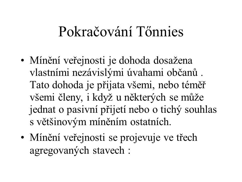 Pokračování Tőnnies Mínění veřejnosti je dohoda dosažena vlastními nezávislými úvahami občanů. Tato dohoda je přijata všemi, nebo téměř všemi členy, i