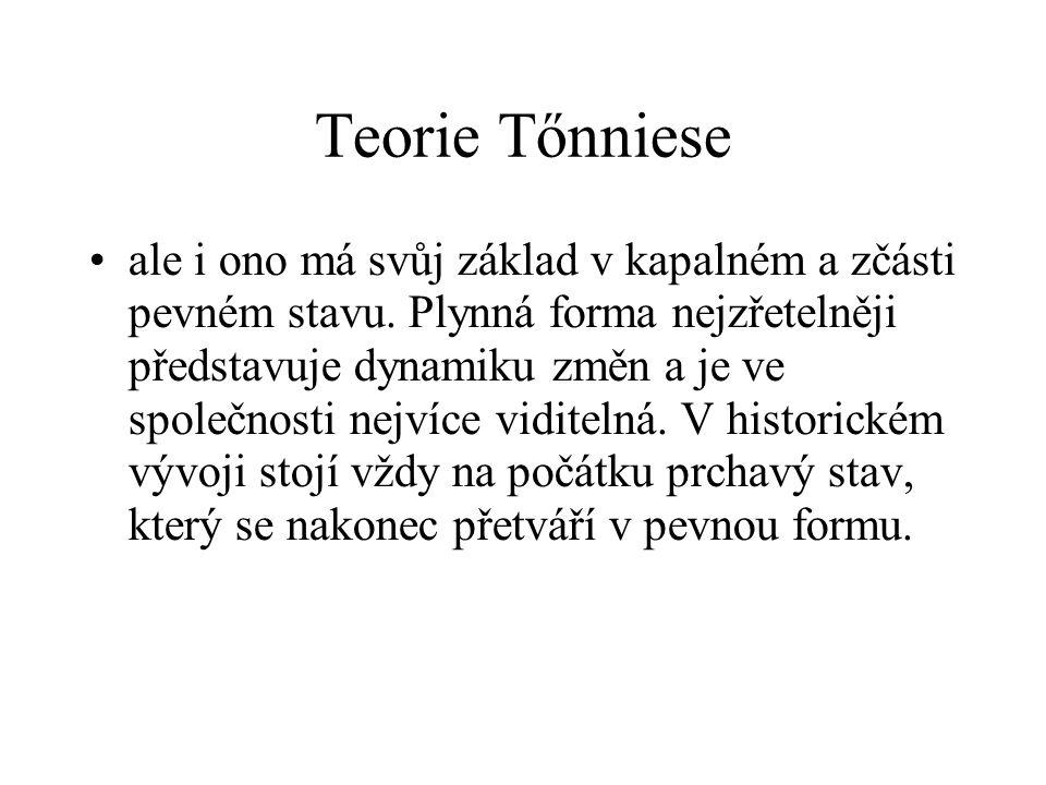 Teorie Tőnniese ale i ono má svůj základ v kapalném a zčásti pevném stavu. Plynná forma nejzřetelněji představuje dynamiku změn a je ve společnosti ne