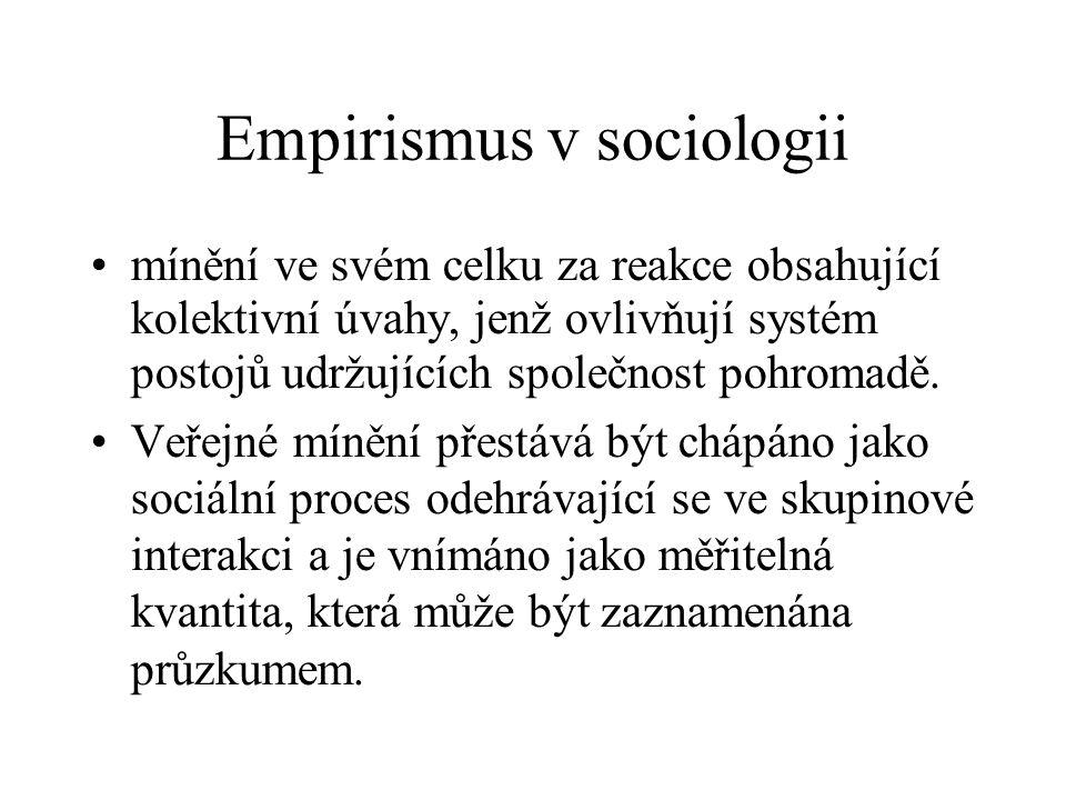 Empirismus v sociologii mínění ve svém celku za reakce obsahující kolektivní úvahy, jenž ovlivňují systém postojů udržujících společnost pohromadě. Ve