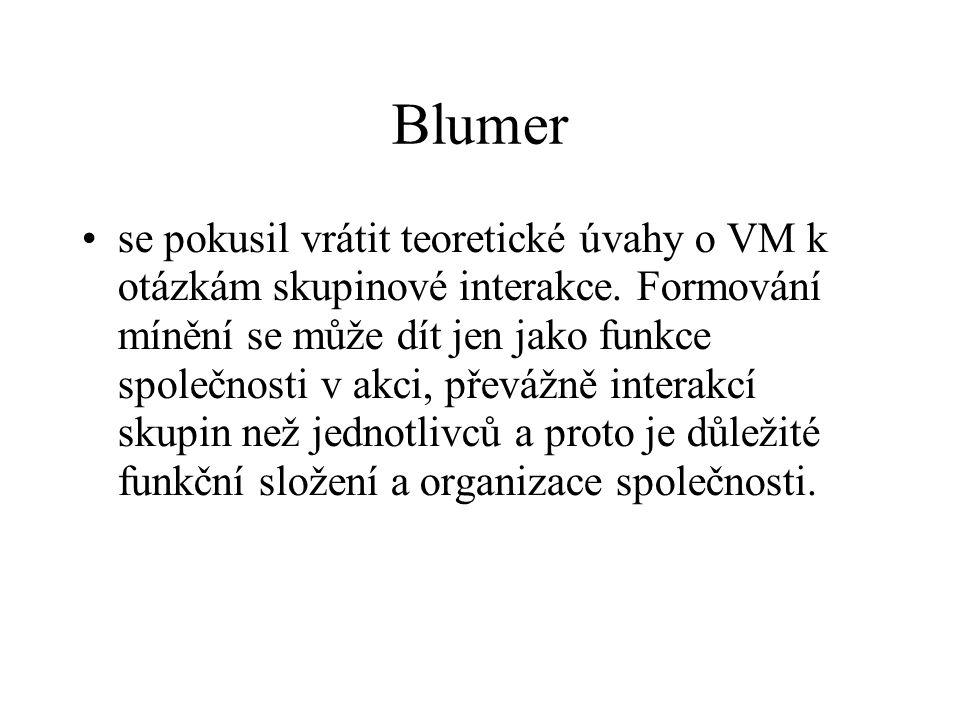Blumer se pokusil vrátit teoretické úvahy o VM k otázkám skupinové interakce. Formování mínění se může dít jen jako funkce společnosti v akci, převážn