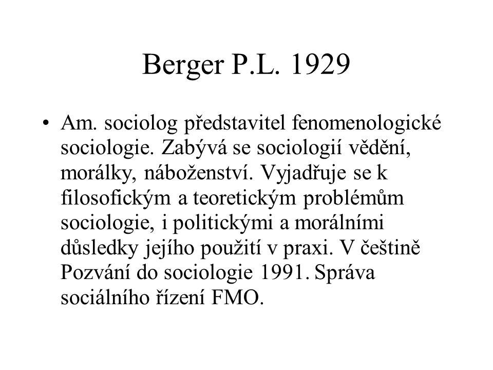 Berger P.L. 1929 Am. sociolog představitel fenomenologické sociologie. Zabývá se sociologií vědění, morálky, náboženství. Vyjadřuje se k filosofickým