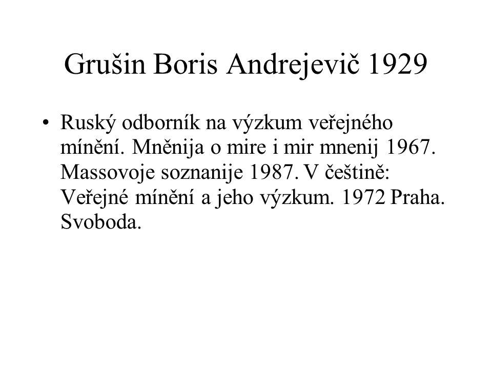 Grušin Boris Andrejevič 1929 Ruský odborník na výzkum veřejného mínění. Mněnija o mire i mir mnenij 1967. Massovoje soznanije 1987. V češtině: Veřejné