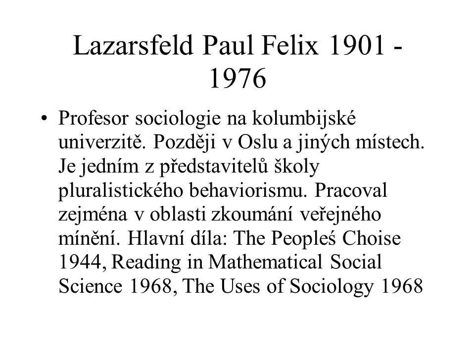 Lazarsfeld Paul Felix 1901 - 1976 Profesor sociologie na kolumbijské univerzitě. Později v Oslu a jiných místech. Je jedním z představitelů školy plur
