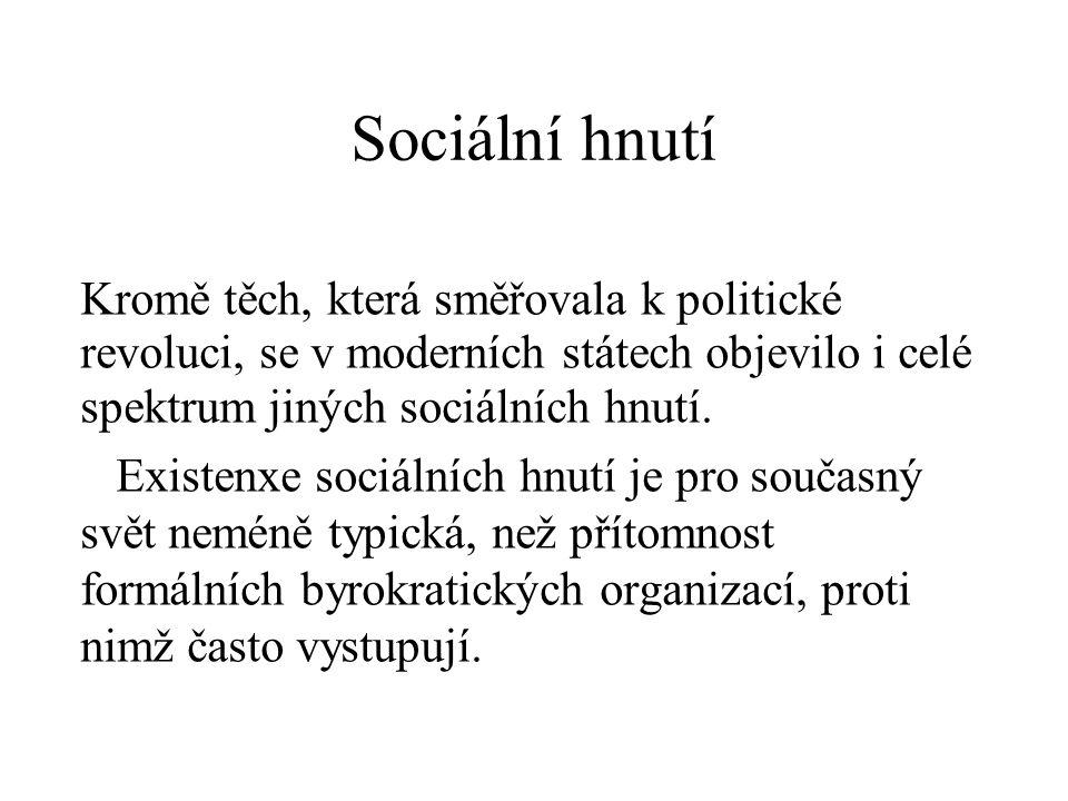 Sociální hnutí můžeme definovat jako kolektivní snahu o prosazení společného zájmu nebo o dosažení společného cíle prost- řednictvím kolektivní akce mimo sféru etablovaných institucí.