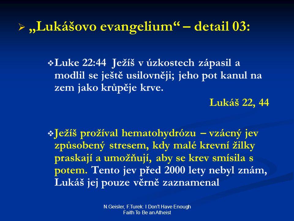 "N.Geisler, F.Turek: I Don't Have Enough Faith To Be an Atheist   ""Lukášovo evangelium"" – detail 03:   Luke 22:44 Ježíš v úzkostech zápasil a modli"