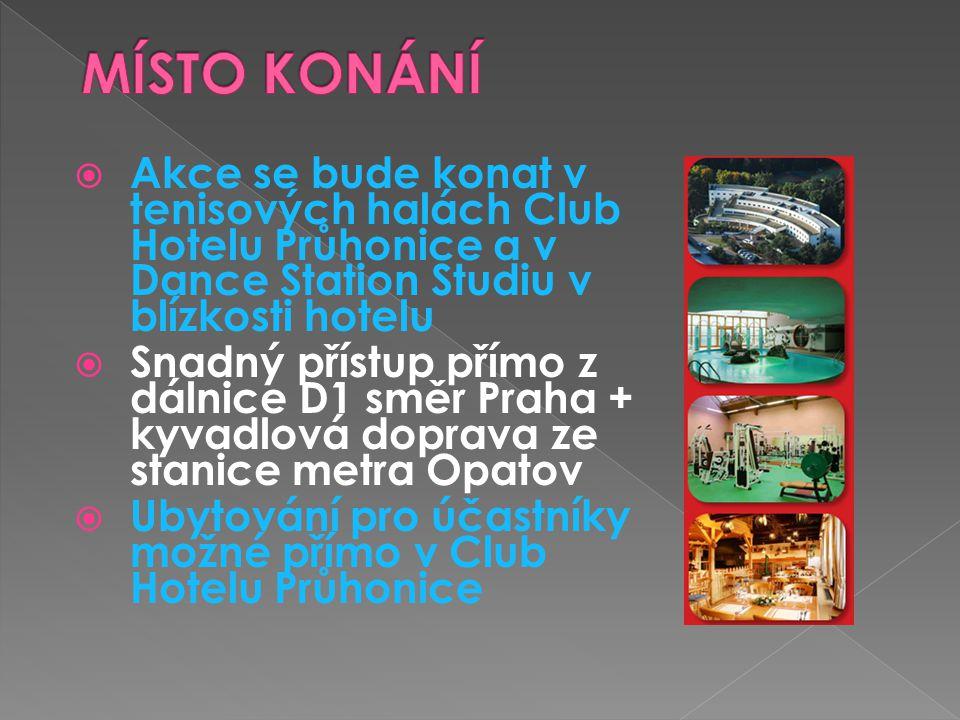  Akce se bude konat v tenisových halách Club Hotelu Průhonice a v Dance Station Studiu v blízkosti hotelu  Snadný přístup přímo z dálnice D1 směr Praha + kyvadlová doprava ze stanice metra Opatov  Ubytování pro účastníky možné přímo v Club Hotelu Průhonice