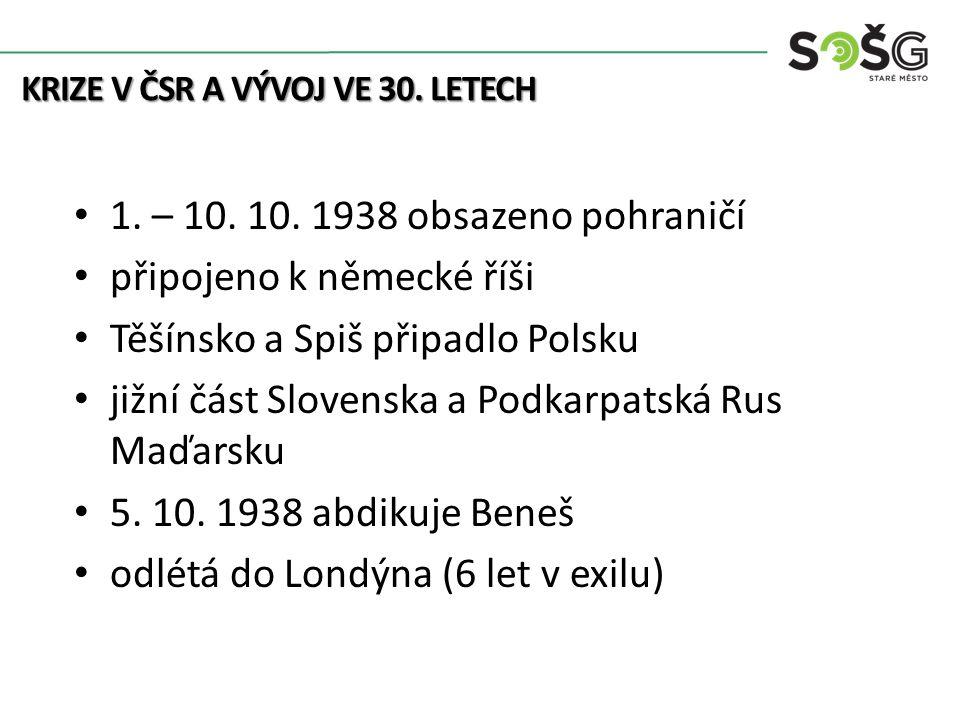 KRIZE V ČSR A VÝVOJ VE 30. LETECH 1. – 10. 10. 1938 obsazeno pohraničí připojeno k německé říši Těšínsko a Spiš připadlo Polsku jižní část Slovenska a