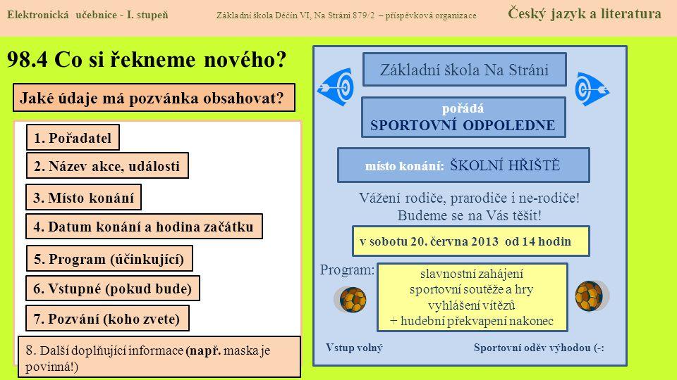 98.5 Procvičení a příklady Elektronická učebnice - I.