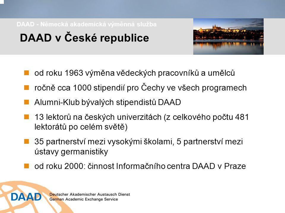 od roku 1963 výměna vědeckých pracovníků a umělců ročně cca 1000 stipendií pro Čechy ve všech programech Alumni-Klub bývalých stipendistů DAAD 13 lekt