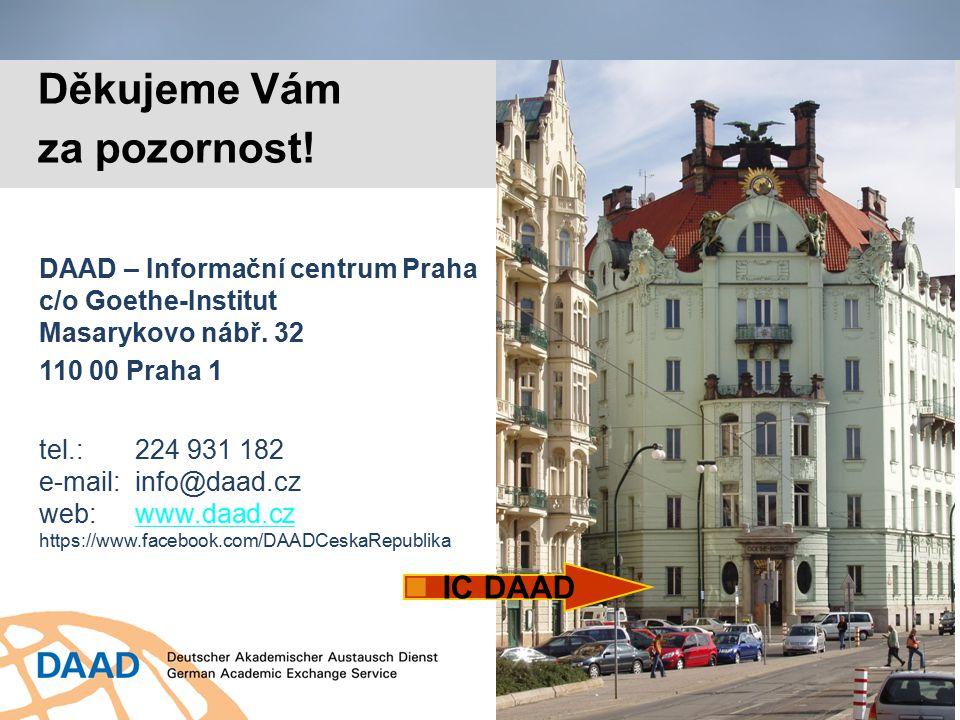 DAAD – Informační centrum Praha c/o Goethe-Institut Masarykovo nábř. 32 110 00 Praha 1 tel.:224 931 182 e-mail:info@daad.cz web:www.daad.czwww.daad.cz