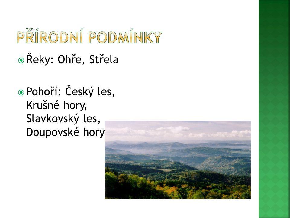  Řeky: Ohře, Střela  Pohoří: Český les, Krušné hory, Slavkovský les, Doupovské hory