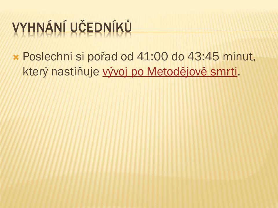  Poslechni si pořad od 41:00 do 43:45 minut, který nastiňuje vývoj po Metodějově smrti.vývoj po Metodějově smrti