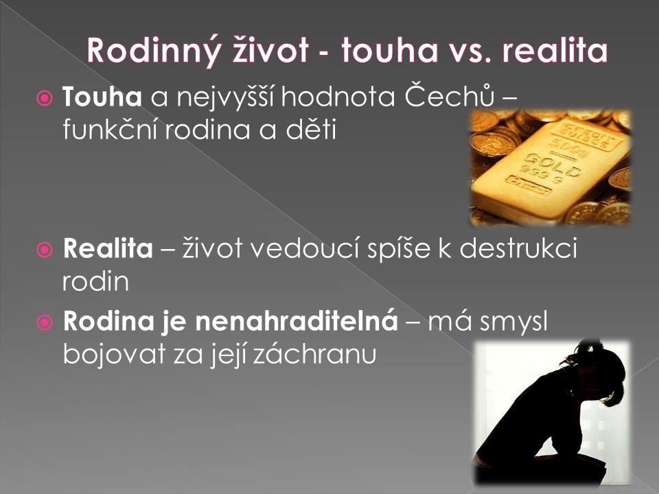  Touha a nejvyšší hodnota Čechů – funkční rodina a děti  Realita – život vedoucí spíše k destrukci rodin  Rodina je nenahraditelná – má smysl bojovat za její záchranu