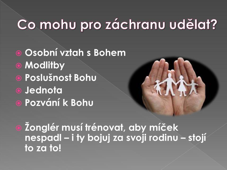  Osobní vztah s Bohem  Modlitby  Poslušnost Bohu  Jednota  Pozvání k Bohu  Žonglér musí trénovat, aby míček nespadl – i ty bojuj za svoji rodinu – stojí to za to!