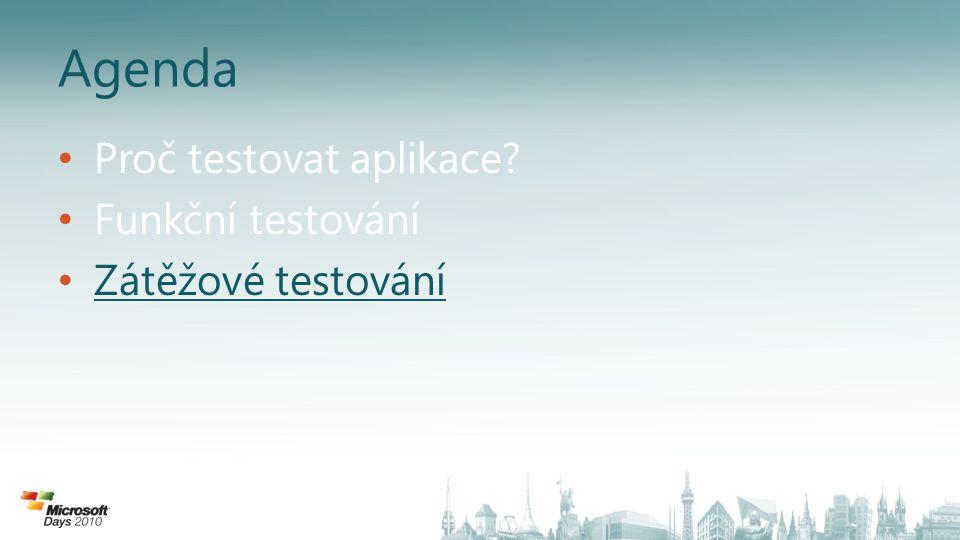 Agenda Proč testovat aplikace? Funkční testování Zátěžové testování