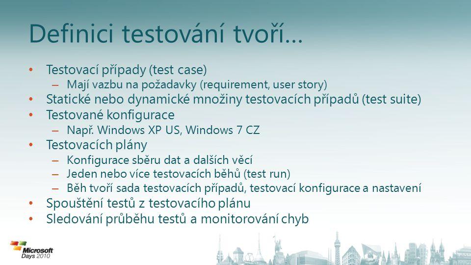 Definici testování tvoří… Testovací případy (test case) – Mají vazbu na požadavky (requirement, user story) Statické nebo dynamické množiny testovacích případů (test suite) Testované konfigurace – Např.