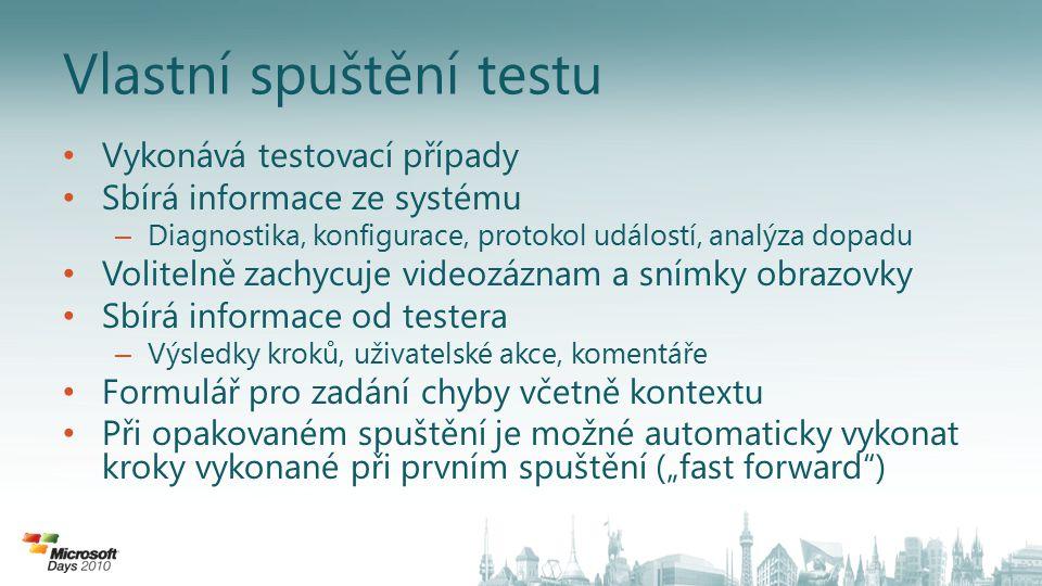 Vlastní spuštění testu Vykonává testovací případy Sbírá informace ze systému – Diagnostika, konfigurace, protokol událostí, analýza dopadu Volitelně z