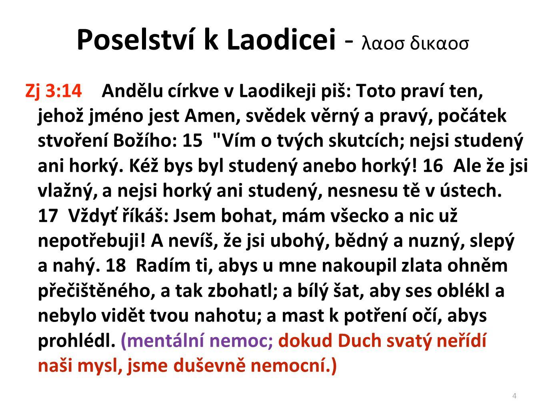 Poselství k Laodicei - λαοσ δικαοσ Zj 3:14 Andělu církve v Laodikeji piš: Toto praví ten, jehož jméno jest Amen, svědek věrný a pravý, počátek stvořen